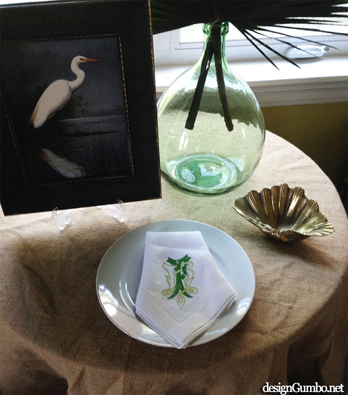 Our Married Monogram in Green/Yellow Green Embroidery on White Linen Napkins