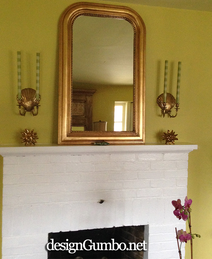 Louis phillippe mirror over fireplace mantle