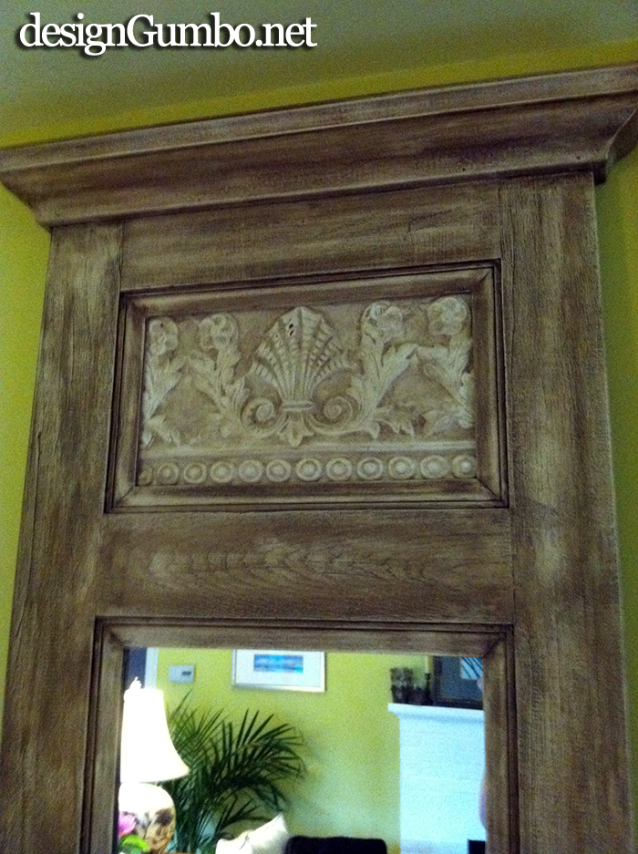 Crown molding added to tip of Trumeau mirror made from an old oak door