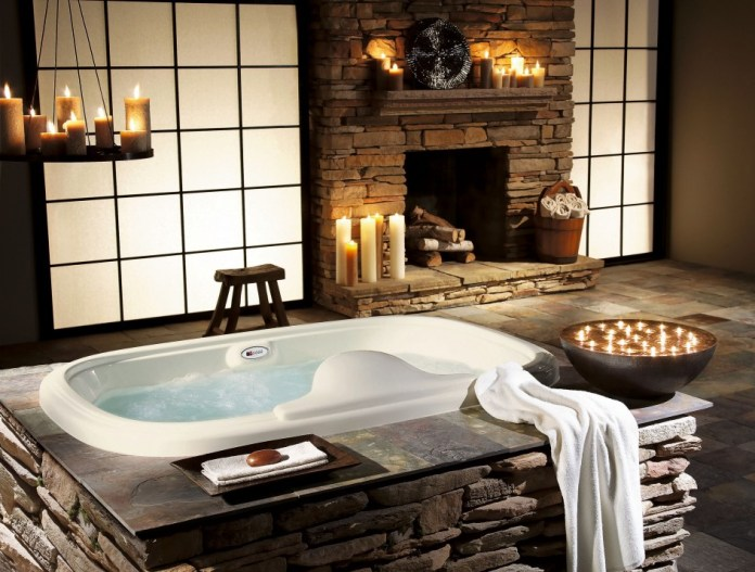 Image result for Sensational bathrooms with natural stone walls