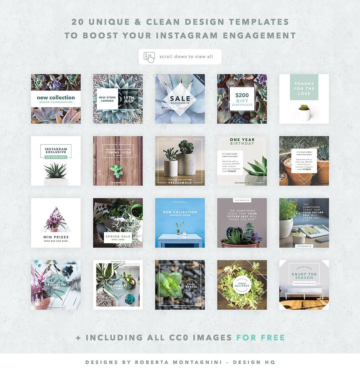 Instagram social media template clean design hq clean social media template bundle design hq maxwellsz