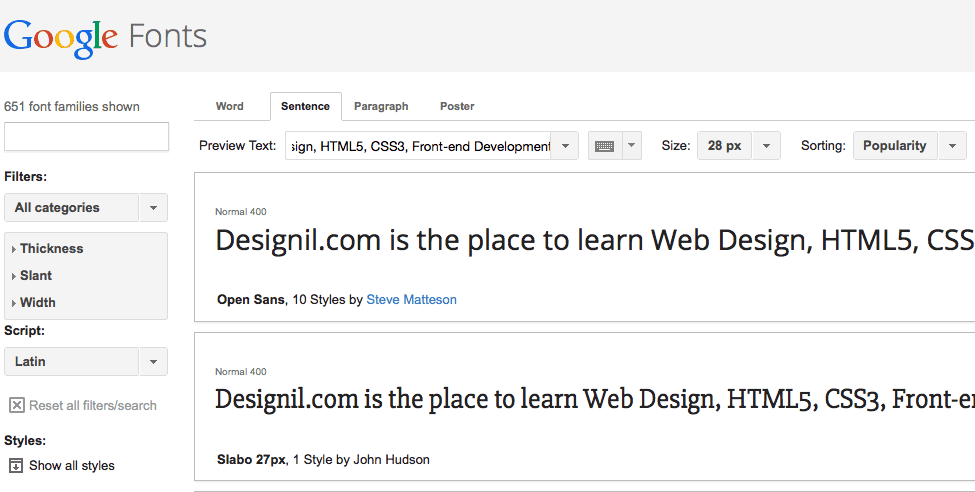Google Fonts Free Library