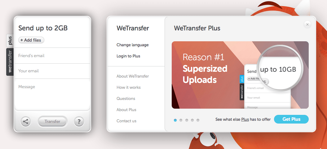 Interface Upload File อันเป็นเอกลักษณ์ของ Wetransfer