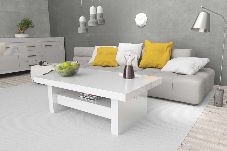 Design Couchtisch H111 Wei Hochglanz Schublade hhenverstellbar ausziehbar Tisch