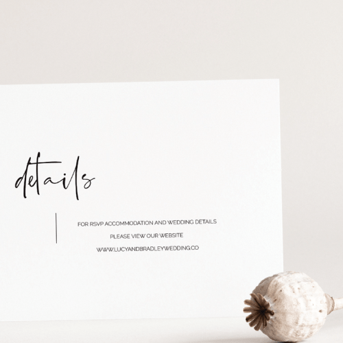 Wedding details card with header details in modern calligraphy font with wedding details text in small sans serif type to the right of the header and center aligned vertically