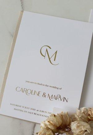 salt beach wedding invitation with interlinked initials monogram feature