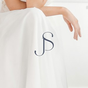 luxury wedding logo feature bride and grooms initials j and s for a high-end minimalist style wedding event