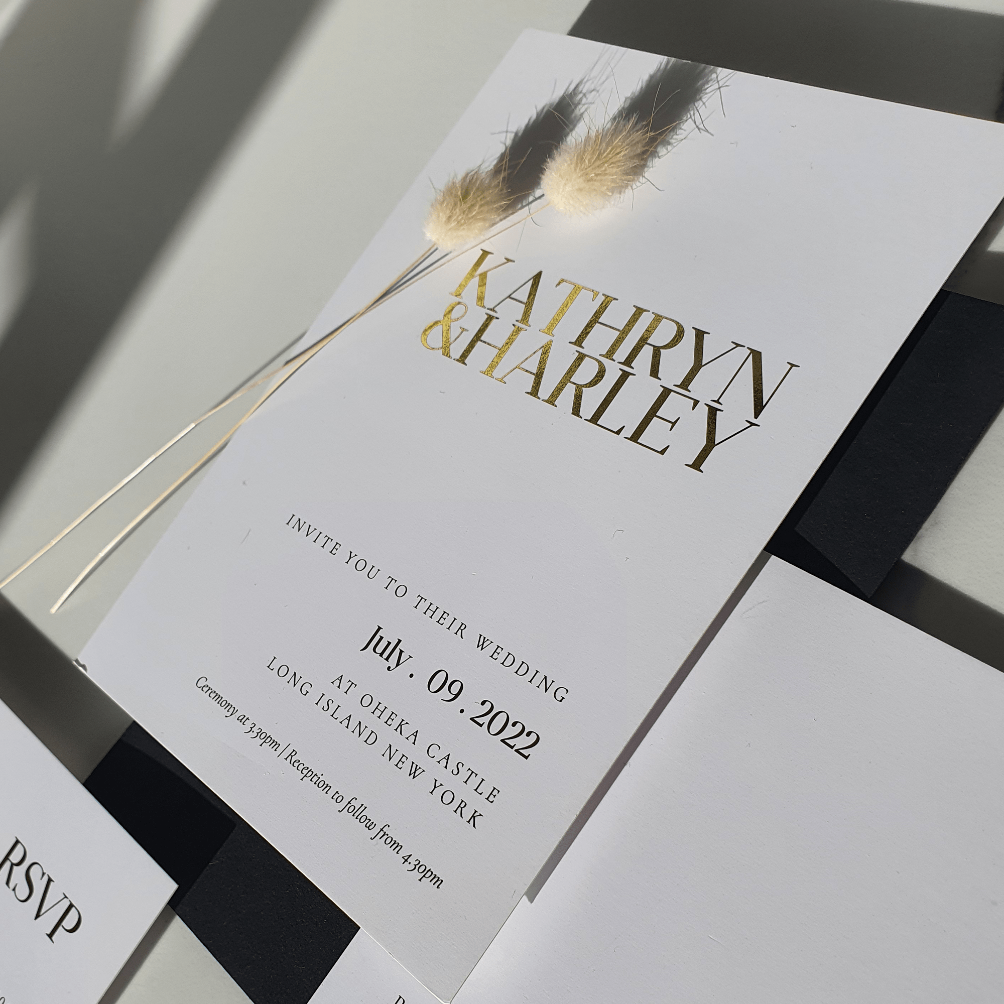 modern, simple wedding invitation suite for wedding at oheka castle new york in gold foil