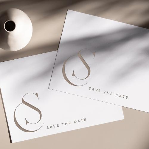 premade wedding monogram design with the initials C+S
