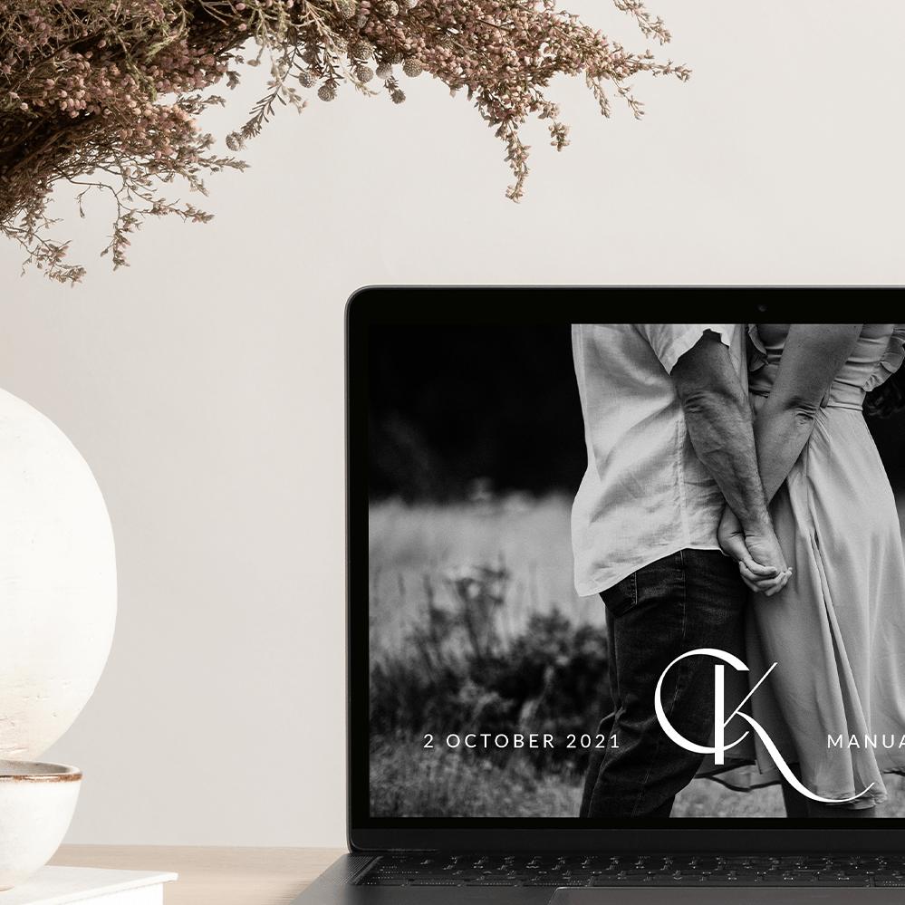 custom wedding monogram for wedding website featuring initials C+K