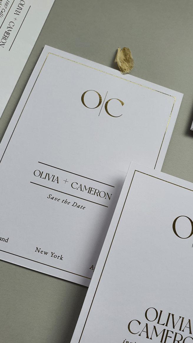 the hamptons semi-custom invitation collection image of save the date close up with elegant monogram feature