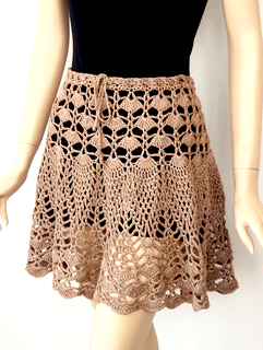 Birthday Girl Skirt in our own Lustrous Tan Lotus yarn