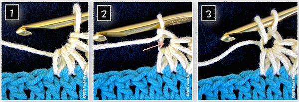 A star stitch is intricately linked with the stitch before it.