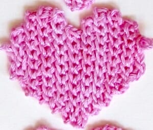 "Before edging, the heart shape looks sort of ""ragged"" around the edges. Slip Stitch Heart Free Pattern, finishing step."