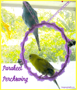 The Parakeet Perchswing free crochet pattern that uses the incomparable Jelly Yarn®.