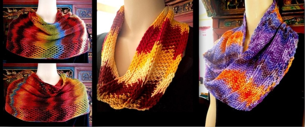 Three different Mindbender Mobiuses due to dye method, fiber blend, yarn weight, and crochet hook size