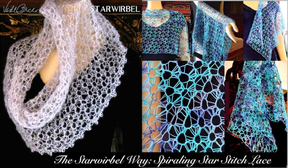 Draping cowl and star stitch pattern shapes for The Starwirbel Way Crochet Class by Vashti Braha