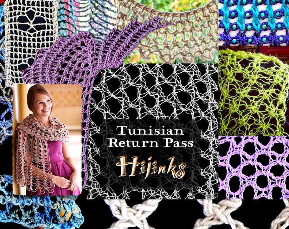 Collage of many examples for Tunisian Return Pass Hijinks Crochet Class by Vashti Braha