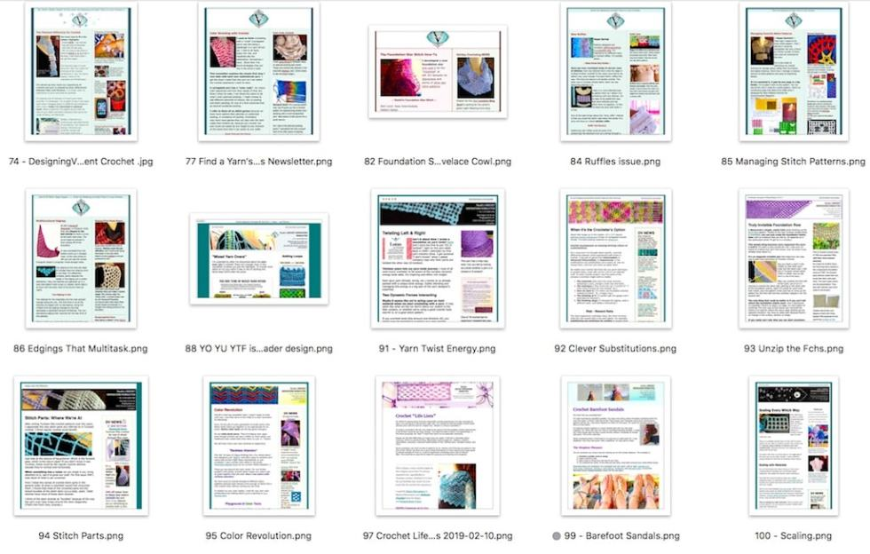 Array of front pages of past Vashti's Crochet Inspirations newsletter issues.