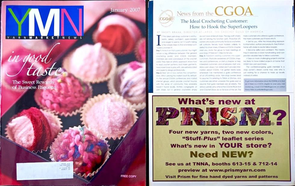 """""""The Ideal Crocheting Customer"""" article page and cover of the January 2007 issue of Yarn Market News."""