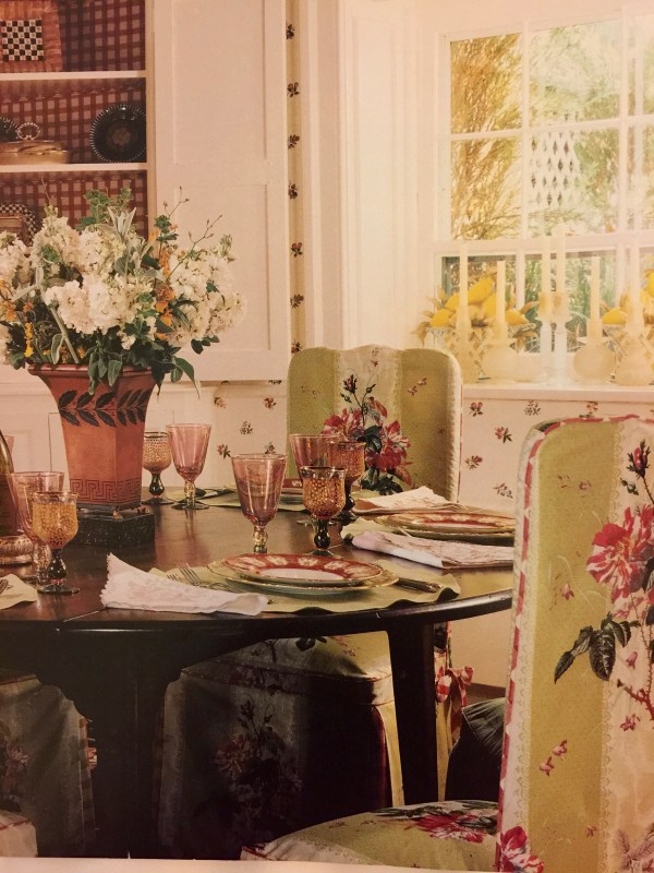 Dining room with upholstered chairs.