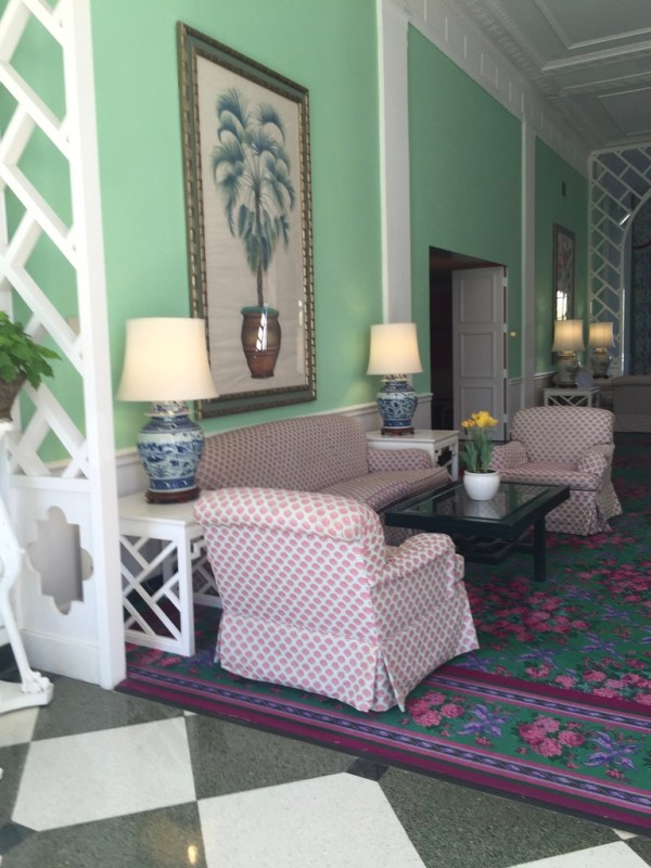 Greenbrier Hotel seating area for relaxing.