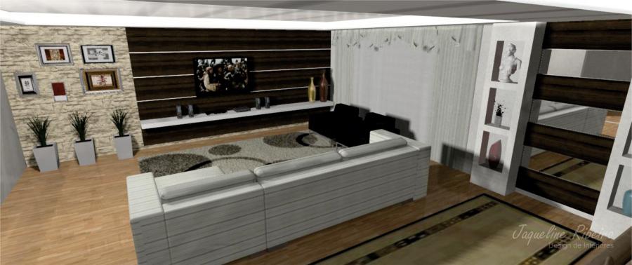Sala de estar e home theater  Design Interiores  Jaqueline Ribeiro