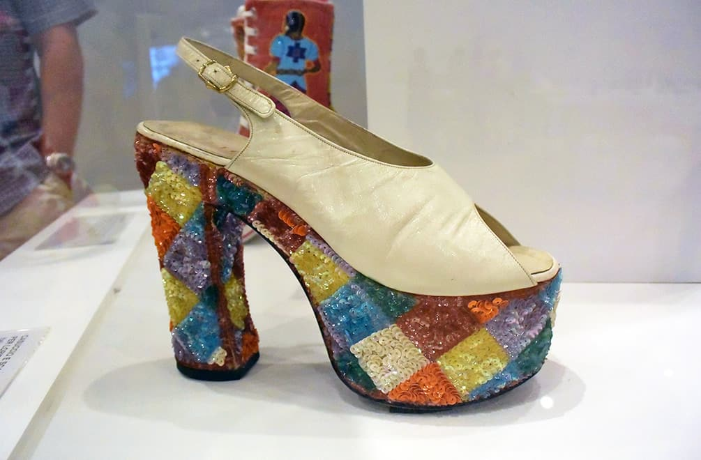 Italian sequined platform shoes