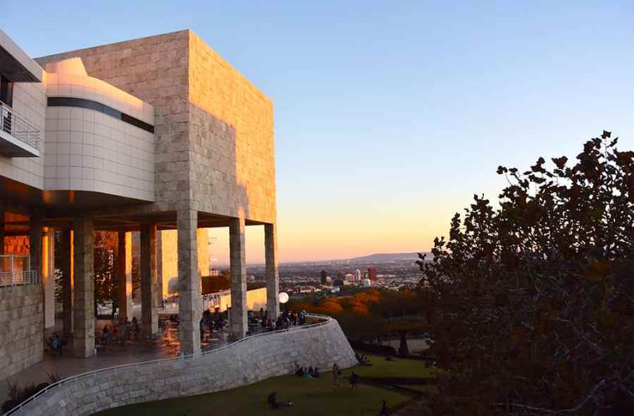 Sunset reflecting off the Getty Center