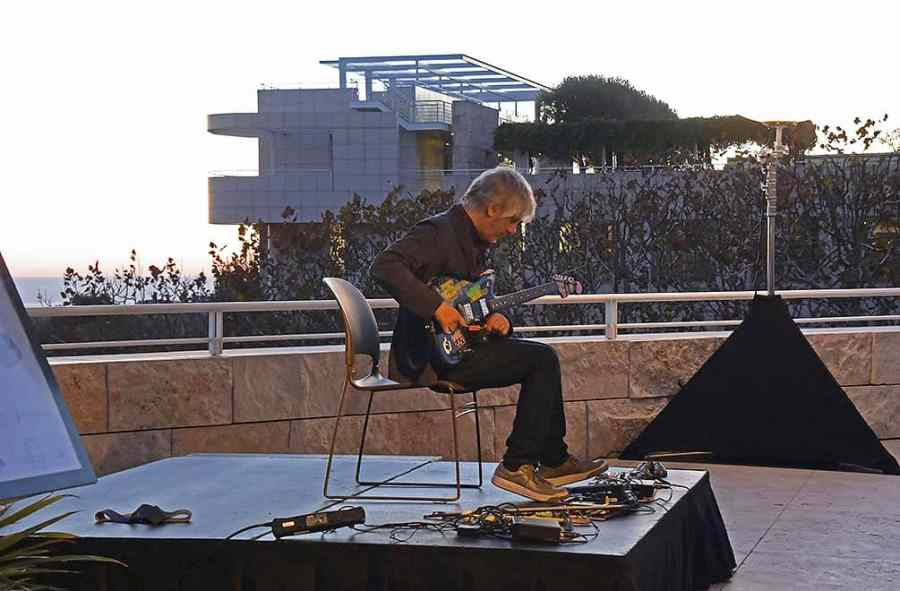Lee Ranaldo of Sonic Youth playing on the Getty Center patio