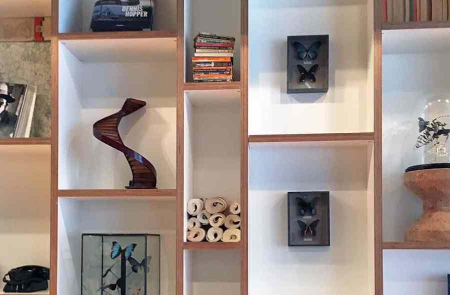 Art objects on shelving at CitizenM