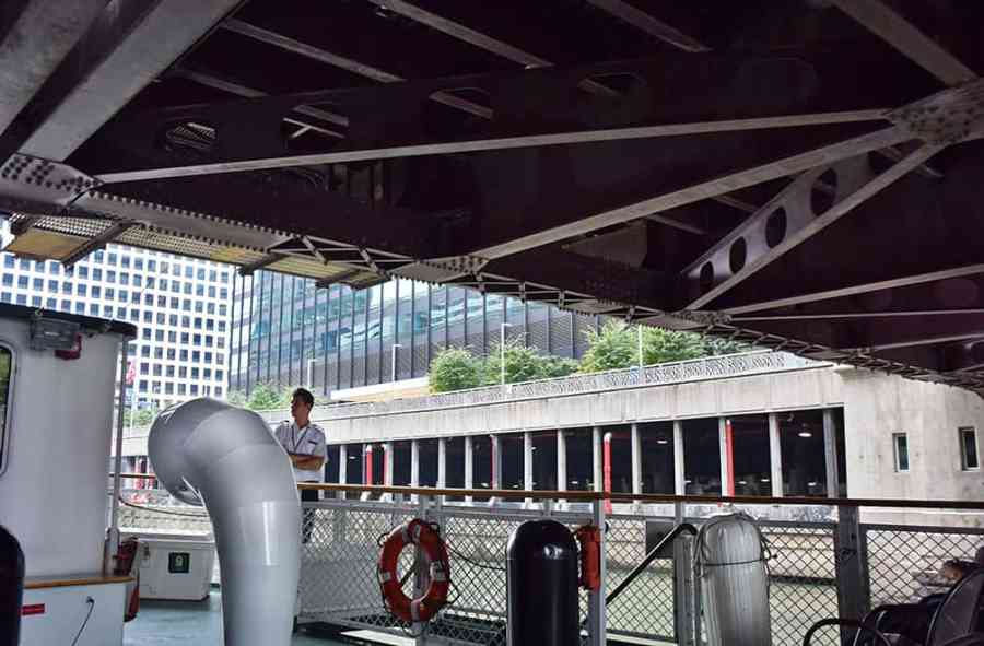 Going under a bridge on the Chicago Architectural Cruise