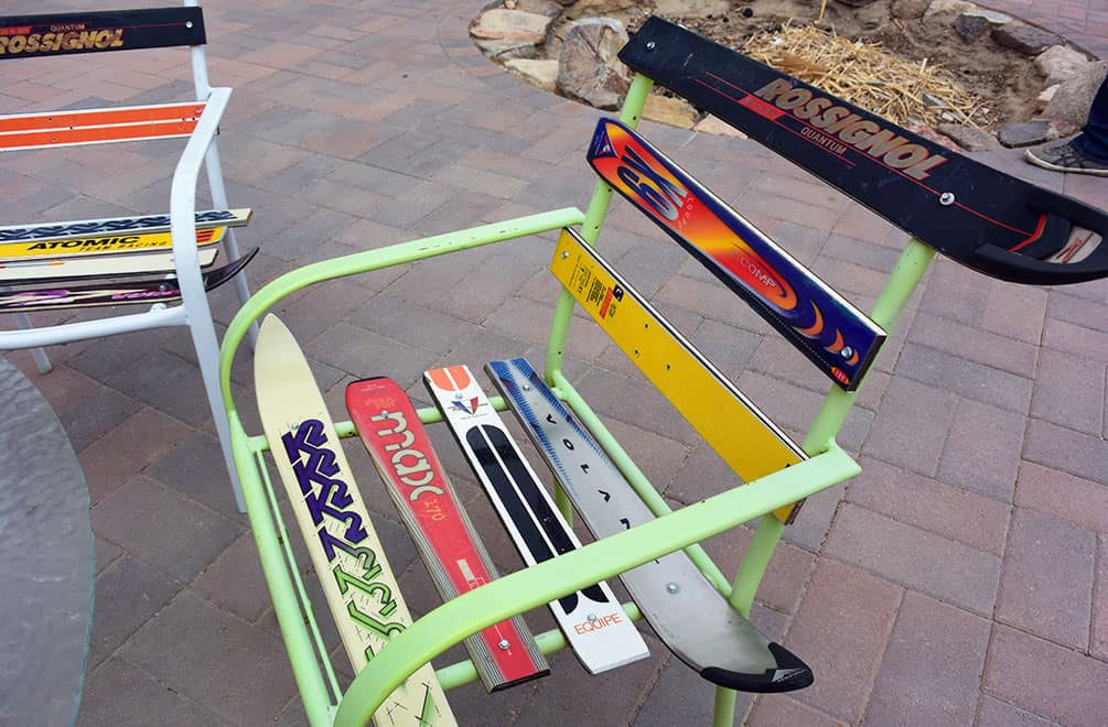 Chairs made from skis at the Integratron
