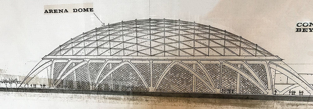 Architectural rendering of dome stadium by Gary Guy Wilson