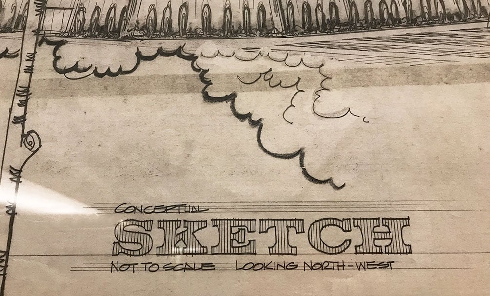 "The word ""Sketch"" on an architectural rendering by Gary Guy Wilson"