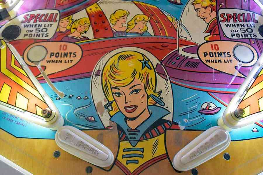 Illustration of woman on pinball machine at Pinball Hall of Fame, Las Vegas