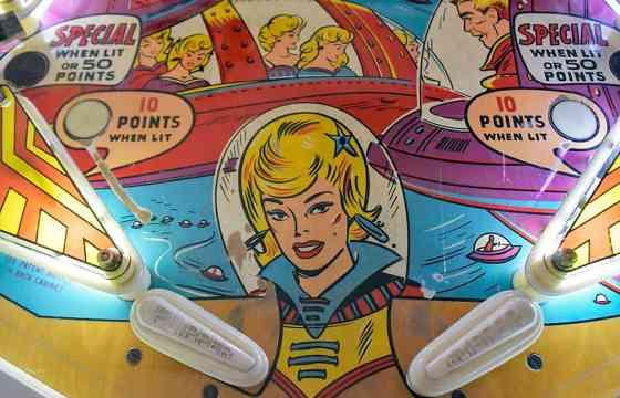 Illustration of woman on pinball machine at Pinball Hall of Fame, Las Vegas