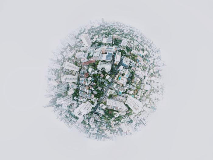 fish eye photography of city