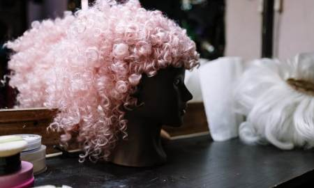 pink and curly wig