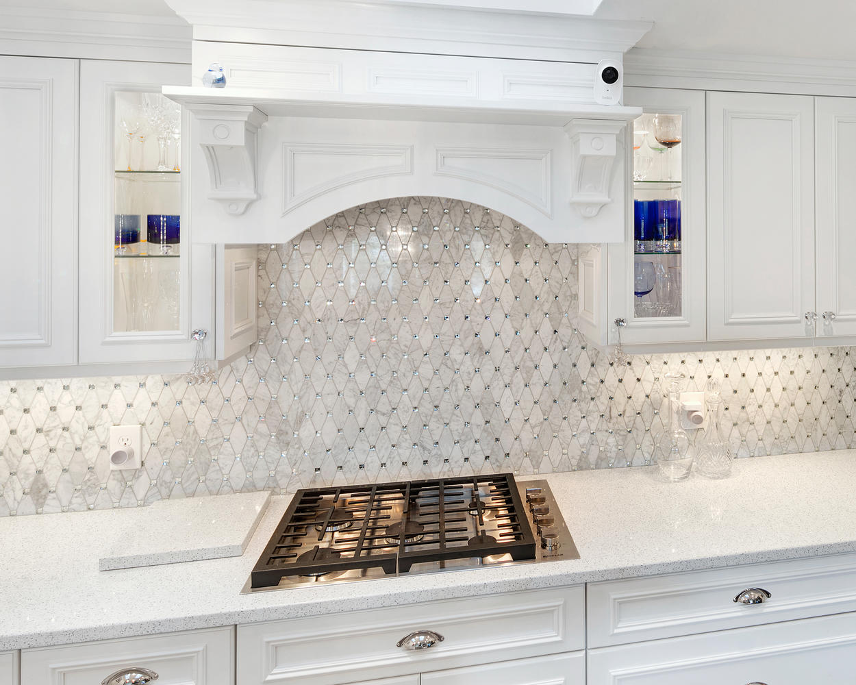 White Kitchen with Glamour Ocean Grove New Jersey by Design Line Kitchens