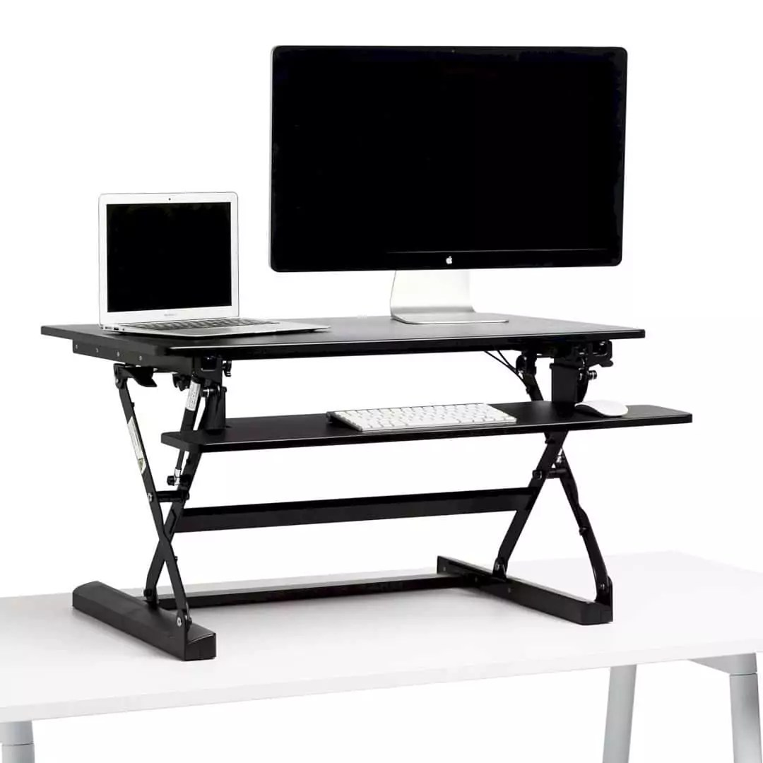 Black Medium Peak Adjustable Height Standing Desk Riser: An Easy Way for Creating A Work Surface