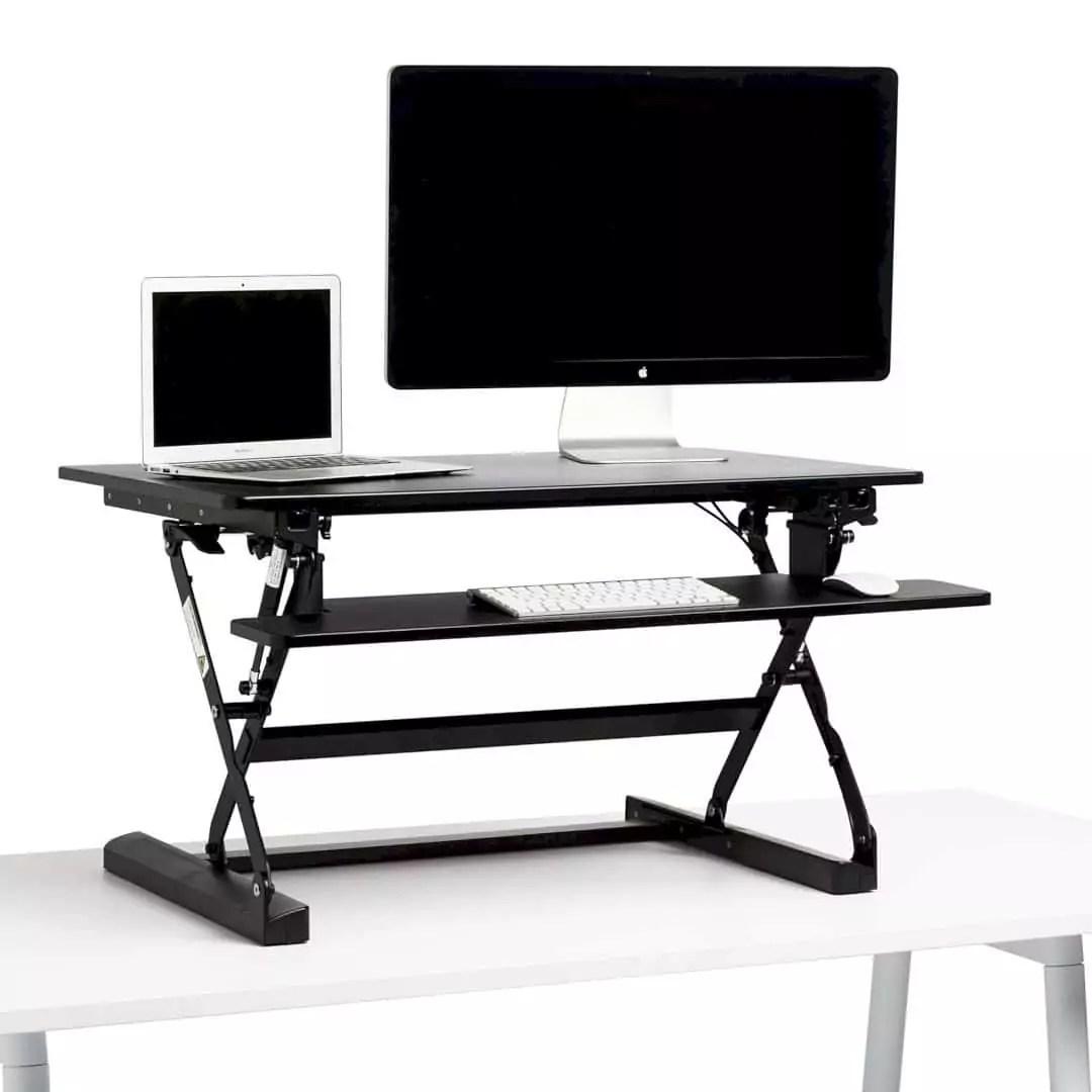Black Medium Peak Adjustable Height Standing Desk Riser 6