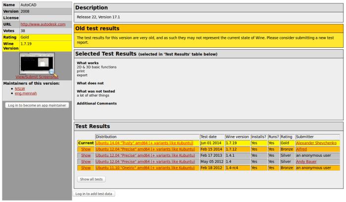 """AutoCAD 2008 ad esempio ha ottenuto un rating """"Gold"""" nel test con Ubuntu 14.04 LTS a 64 bit"""
