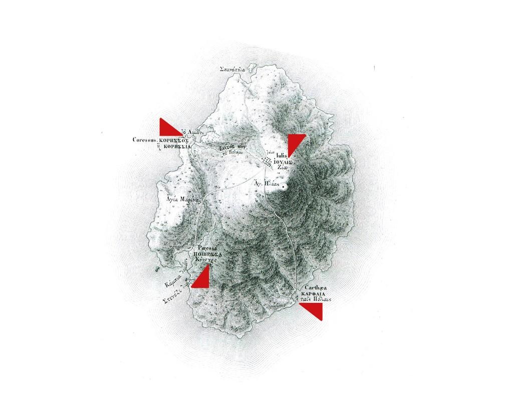Κατά τα Αρχαϊκά χρόνια η Κέα ήταν γνωστή ως Τετράπολις γιατί ιδρύθηκαν στο νησί τέσσερις πόλεις-κράτη, η Ιουλίδα, η Κορησσός, η Καρθαία και η Ποιήεσσα, με χωριστή διοικητική διάρθρωση, αλλά με ενωτική συνήθως παρουσία στην εξωτερική τους πολιτική.