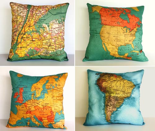 map pillow My Bearded Pigeon