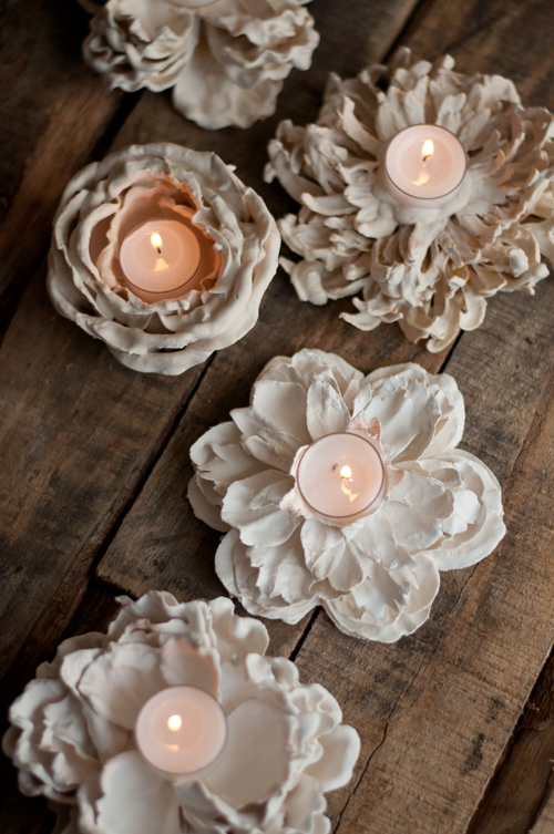 DIY: Plaster Dipped Flower Votives  |  Design Mom