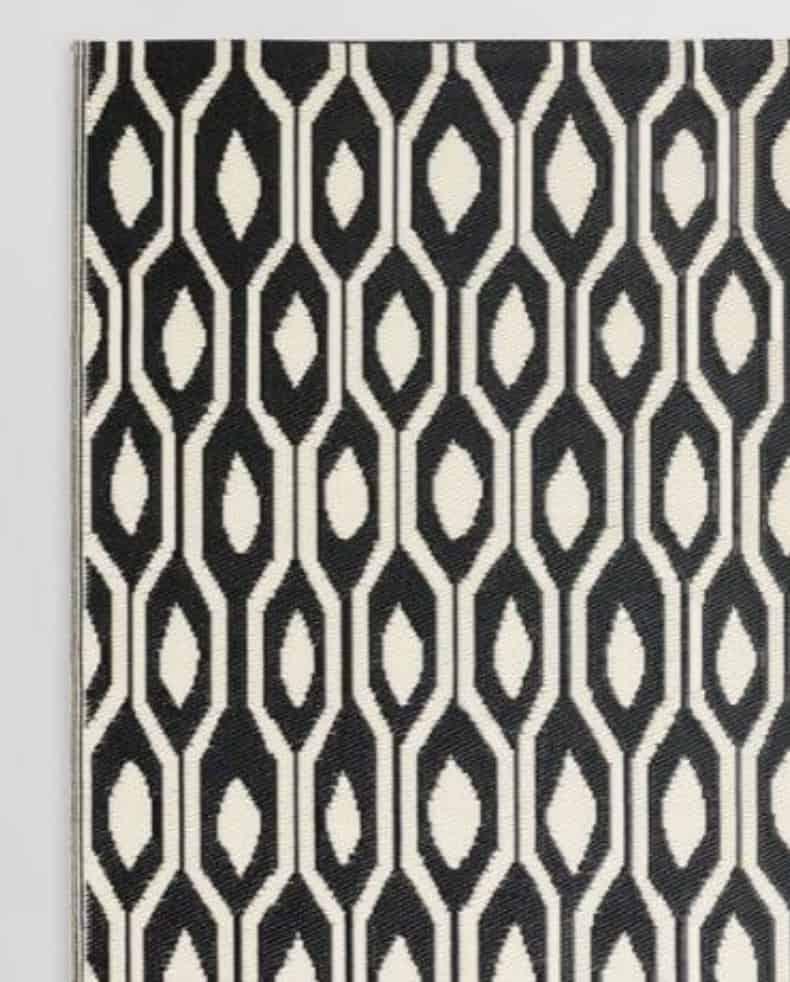 black & cream outdoor rug