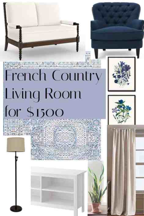 French Country Living room for less than $1500