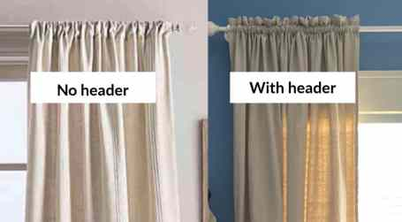 rod pocket with header and without