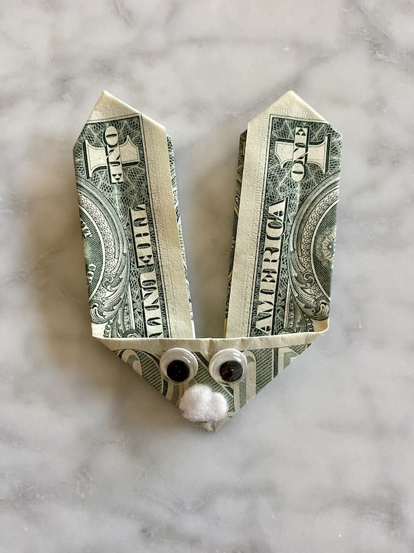 diy dollar bill origami Easter bunny